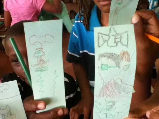 Bookmarks designed by the children at the workshops