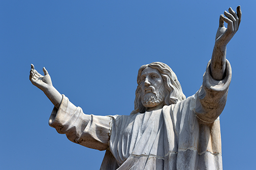 A picture taken on January 1, 2016 shows the nine-metre tall statue of Jesus Christ carved from white marble, thought to be the biggest of its kind in Africa, unveiled in Abajah, south-eastern Nigeria. (Photo: AFP)