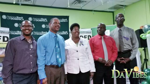 (L-R): Chairman of the Board of Directors of the NDFD, Oliver Henderson; Executive Director of the NDFD, Cletus Joseph; Permanent Secretary in the Ministry of Commerce, Enterprises and Small Business Development, Esther Thomas; NBD Director, Paul Moses and NBD Managing Director, Ellingworth Edwards