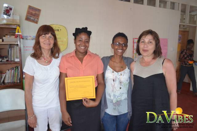 Retired UK teachers; Claire Djali (left) and Lina Graham (right) with Director of the Achievement Learning Centre, Beverly Leblanc and one of the participants of the training