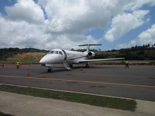 A test flight of the new jet charter flight landed at Douglas Charles Airport on Friday 6 May 2016 (Photo courtesy Minister for Tourism and Urban Renewal, Senator Robert Tonge)