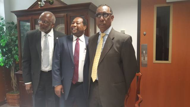 (L-R): Dominica's Ambassador to the OAS, Hubert Charles; Provost University of Maryland Eastern Shore, Dr Alton Thompson; and DSC President, Dr. Donald Peters