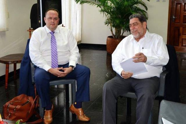 Chief Commercial Officer Lloyd Carswell (left) and Prime Minister Raph Gonsalves (right)