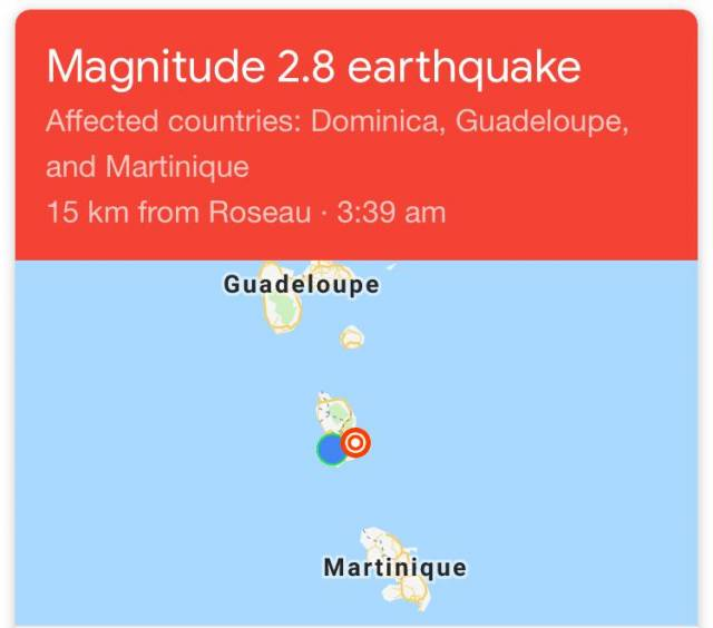 Burst of Earthquakes felt in the South of Dominica